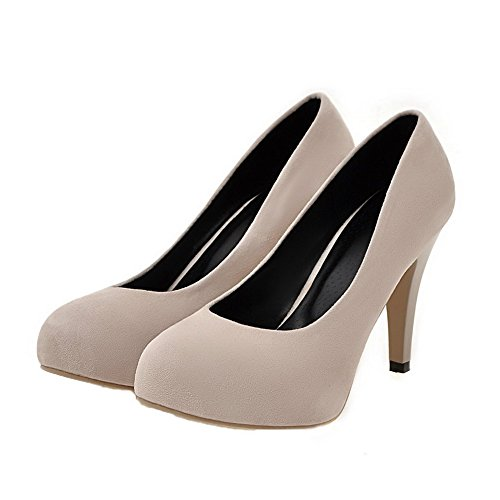Odomolor Women's Pull-On Round-Toe High-Heels Frosted Solid Pumps-Shoes Beige NHC37e