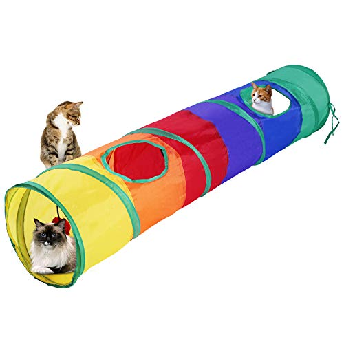 WERTYCITY Cat Tunnel. Large Size, Collapsible Play Toy Tunnel with Ball for Large Cats, Dogs, Rabbits, Puppy, Kitty, Kitten Indoor/Outdoor Use ()