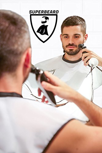 Beard Catcher Bib Apron Beard Cape for Shaving-Hair Clippings Catcher & Grooming Cape Apron- Beard Shaving Bib Catcher for Easy Clean Up & a Clog-Free Drain - Grooming Cape Gift Ideas for Men