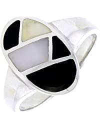 Sterling Silver Mother of Pearl Ring Oval Black & White 3/4 inch
