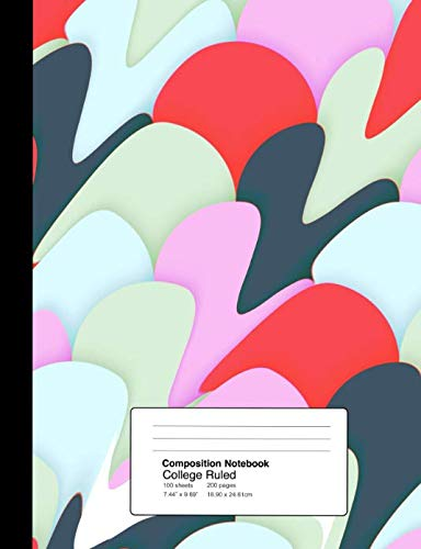 Composition Notebook College Ruled  7.44 x 9.69 Inches 100 sheets / 200 pages: Red Pink Abstract Camo Splatter