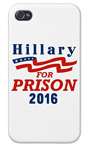 Apple iPhone Custom Case 5 / 5S White Plastic Snap On - 'Hillary for Prison 2016' Parody Presidential Candidate Design