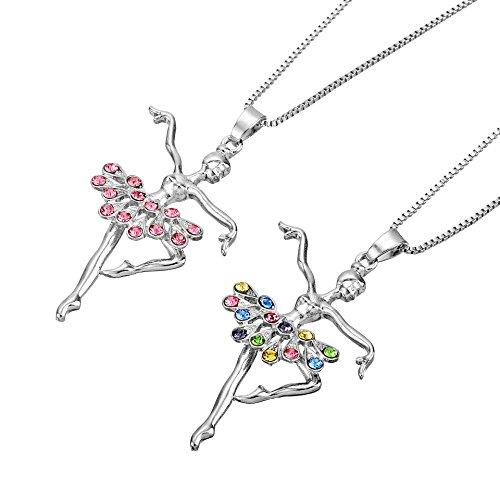 Adecco LLC Little Girl Necklace Dancer Ballet Recital Gift Ballerina Dance Necklaces Teen Girls Jewelry 16 inches