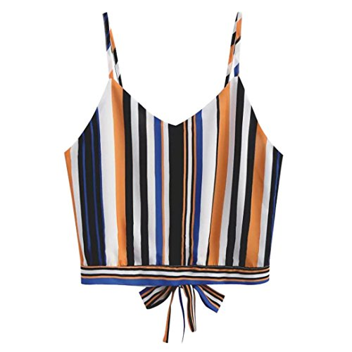 Price comparison product image Srogem Womens Tops Women's Multicolor Stripes Printed Self Tie Back V Neck Crop Cami Top Camisole (L,  Multicolor)