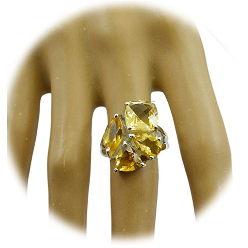 Gemsonclick Natural Citrine Ring For Women Silver Mixed Gemstone Statement Handmade Size (Mixed Gem Ring)