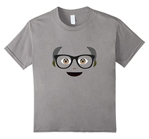 Nerdy Girl Halloween Costume Ideas (Kids Grandpa Emoticon Nerdy Costume T-shirt 10 Slate)