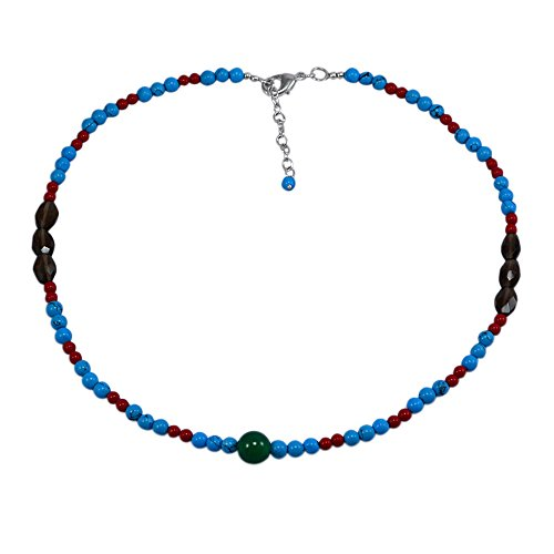 Silvestoo Jaipur Green Onyx, Turquoise & Smoky Quartz Necklace PG-131107 (Necklace Quartz Onyx Smoky)