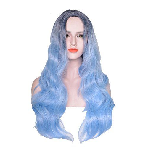AOGSY Long Wave Wigs Natural Ombre Women Synthetic Lace Front Cosplay Party (Making A Poison Ivy Halloween Costume)