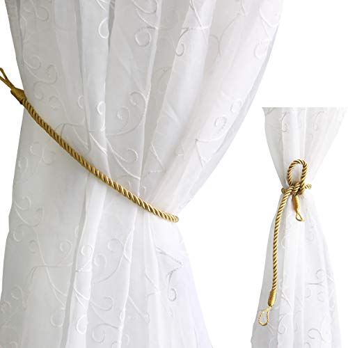Valea Home Curtain Rope Tiebacks Decorative Holdback for Drape Curtains, Gold, Set of 2 (Decorative Holdback)