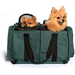 "Sturdibag Large Divided Pet Travel Carrier Carry 2 Pets in 1 Carrier, Airline,aaa Approved Pet Travel Carrier Tote, Size Large 18""l X 12""w X 12""h (Prior to Flexing Down) (Evergreen)"