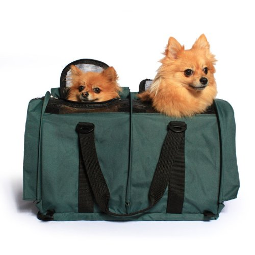 Sturdibag Large Divided Pet Travel Carrier Carry 2 Pets in 1 Carrier, Airline,aaa Approved Pet Travel Carrier Tote, Size Large 18''l X 12''w X 12''h (Prior to Flexing Down) (Evergreen) by Sturdi Products