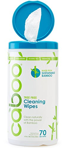 Caboo All Purpose Bamboo Cleaning Wipes, Natural Multi-Surface Kitchen Wipes, Eco Friendly and Compostable, Apple Scented, 1 Canister of 70 Wipes