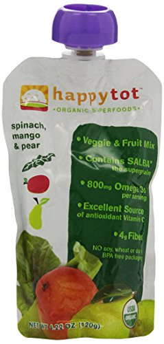 (Happy Family happy tot Purees - Spinach Mango & Pear - 4.22 oz - 8 pk)