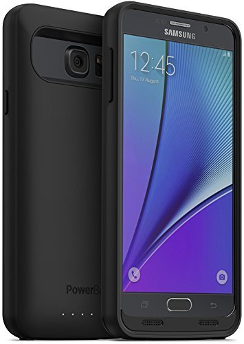 PowerBear Note 5 Battery Case [5000 mAh] High Capacity External Battery Charger for Samsung Galaxy Note 5 (Up to 165% Extra Battery) - Black & Screen Protector Included
