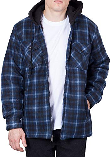Visive Hoodie Flannel Fleece Jacket for Men Zip Up Big & Tall Lined Sherpa Sweatshirts (Large,Blue/White/Black)