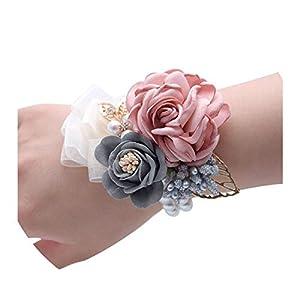 Wedding Bouquet 5 Pieces Wedding Bride Girl Floral Hand Wrist Corsage Artificial Bridesmaid Flower Bracelet Wedding Party Decoration 120