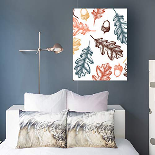 Canvas Prints Wall Art Design Hand Drawn Oak Trees Graphic Nature Acorn Tree Vintage Leaves 16 x 16 Inches Modern Painting Decor Stretched Wooden Framed Wrapped (Autumn Oak Strip)