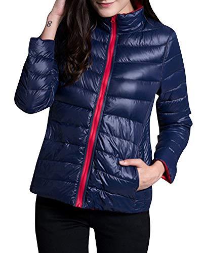 Slim and Lightweight Reversible Jacket Down Navy Outwear Women's ZiXing Outwear Coat Red nfXwUxpqpv