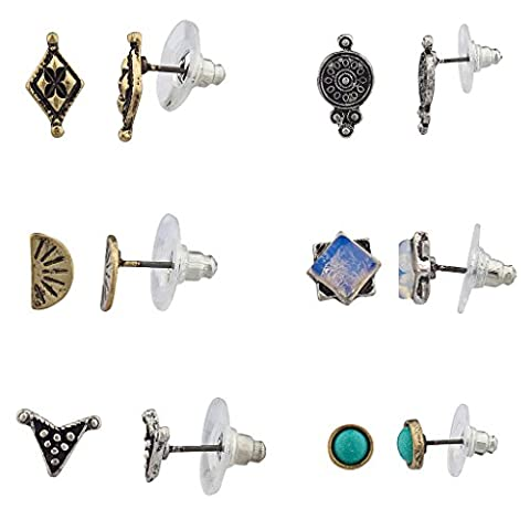 Lux Accessories Synthetic Turquoise Tribal Square Disc Antique Multiple Stud Earrings Set