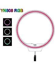 Yongnuo YN608 RGB - Lámpara anular led, Color Negro y Blanco