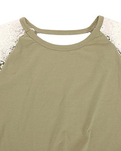 ZANZEA Mujeres Camisetas Empalme Delgada Con Manga Larga Espalda Al Aire Halter Top Ejército Verde
