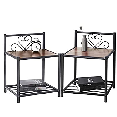 GreenForest Bedside Table Set of 2 Nightstand 2 Tier Retro End Table,with Metal Storage Shelf and Walnut top for Bedroom Living Room,Walnut - Attractive appearance set of 2 bedside table: sold in pairs,classic color and simple top with a retro design match the other furnitureperfectly andadd a sense of elegance to your room. Practical design as end table: each end table provide2 Tiers,providing enough room to storage books,magazines or other small items.besides, metal material provide a firm support for you to sort clothes or put a lamp. Easy to assemble:bedside table provide easy-to-follow assembly instructions and all tools that needed,which helps you to save time to put them together. - bedroom-furniture, nightstands, bedroom - 41TgvpaUkyL. SS400  -