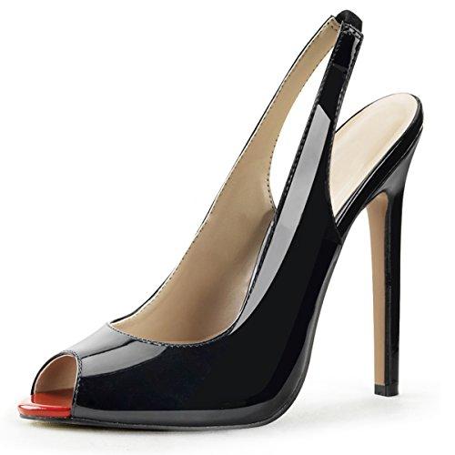 Summitfashions Womens Black Slingback Pumps Peep Toe Shoes Patent Stilettos 5 Inch Heels Size: 8