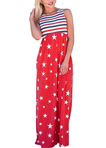 July 4th Women High Waisted Patriotic Swing Sleeveless Pocket Stripe Star Maxi Tank Dress American Flag M