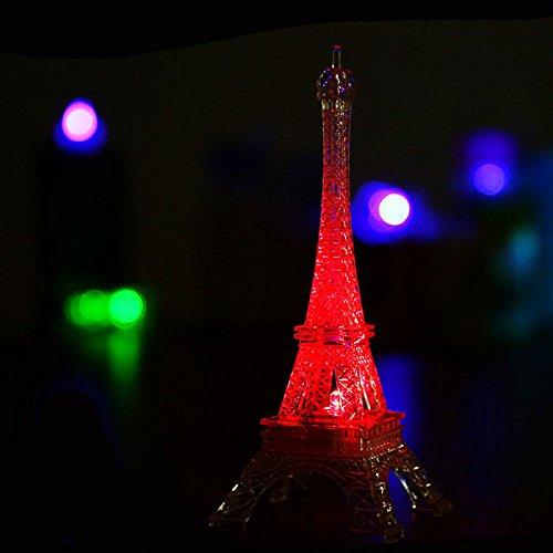 Price comparison product image Colorful Eiffel Tower Nightlight Paris Style Decoration LED Lamp Fashion Desk Bedroom Acrylic Light 9 Inch