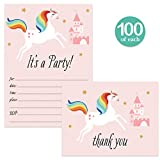 Little Girl Birthday Invites ( 100 ) & Thank You Cards ( 100 ) Matching Set with Envelopes Large Party Family Friends Children Fun Rainbow Unicorn Fill-in Invites & Folded Thank You Notes Value Pair