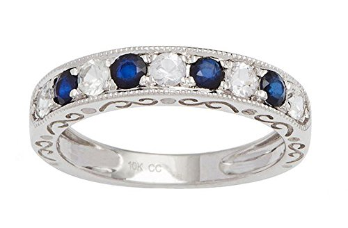 - 10k White Gold Sapphire and Created White Sapphire Vintage Style Anniversary Wedding Band