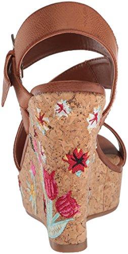 Sugar Women's Haley Platform Strappy Buckled Cork Wedge Sandal Cognac Embroidery 6nrrxVZ