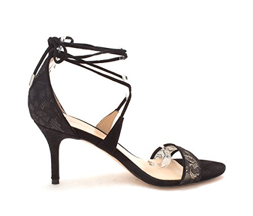 Toe Ankle Pour La Leather Sandals Casual Strap Victoire Zahara Lace Womens Black Open w1w6qfp