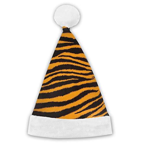 HBLSHISHUAIGE Yellow Black Tiger Pattern Christmas Hats Santa Hat Headdress Party Decoration Comfort Liner;Xmas Caps for Adult Children;Delicate Printing