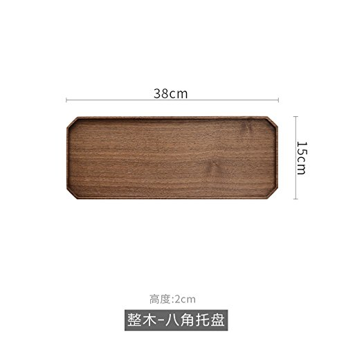 Original Black Walnut Tea Tray Whole Wooden Plate Dry Tea Tray Japanese Style Simple Solid Wood Whole Wooden Octagonal Tray - Octagonal Plate Charger