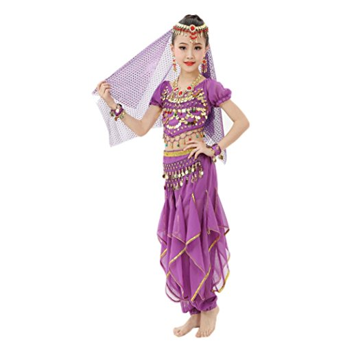 Mens Belly Dance Costumes (Allywit Handmade Children Girl Belly Dance Costumes Kids Belly Dancing Egypt Dance Cloth (M, Purple))