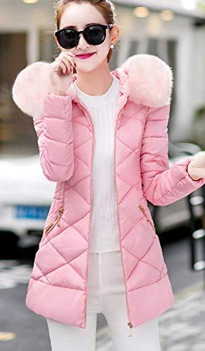 De Caliente Unicolor Slim Imitación Acolchado Parka Retro Invierno Moda Mujer Capucha Con Larga Abrigo Piel Manga Rose Fit Elegantes Espesar Plumas Pluma 6zIqR