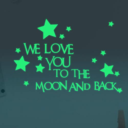 Homics Nursery Wall Decals Luminous Words Sticker At Night - WE LOVE YOU TO THE MOON AND BACK - Words Glow In The Dark with Stars Around