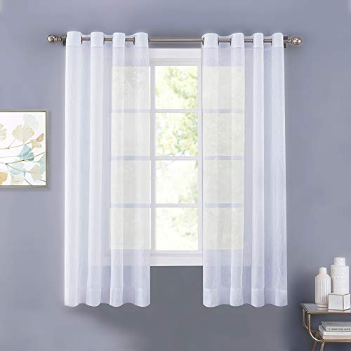 - NICETOWN Sheer Window Panels Voile Curtains - High Thread Crushed Sheer Voile Curtain Panels with Grommet Top for Bedroom (2-Pack, 52 Wide x 63 inch Long, White)