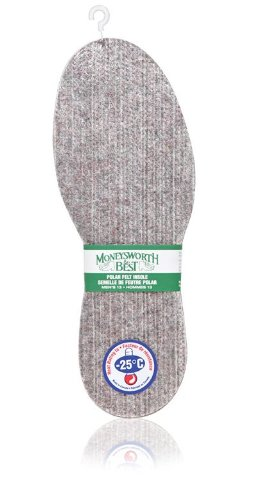 Moneysworth & Best Polar Men's Warmth Down to -25c Felt Insole, - Felt Wool Block