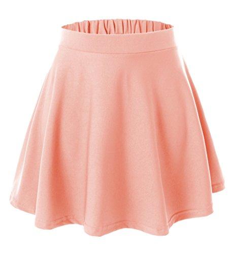 Womens Versatile Flared Skater Skirt (Small, Orange)