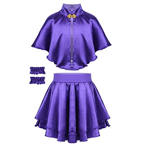 Show Girl Outfits (YiZYiF Kids Girls Greatest Show Costume Outfit Cape with Skirt and Wristband Cosplay Theatre Musicals Party Fancy Dress Set Purple)
