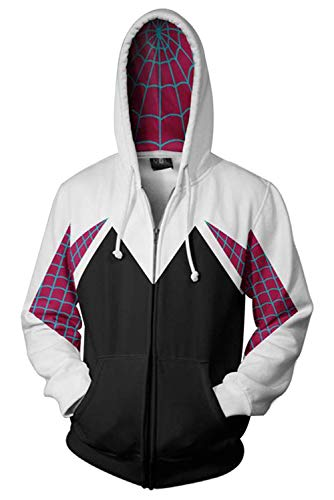 Newhui Gwen Stacy Hoodie Costume Into The Spider Verse Spider-Woman Hooded Coat Jacket White ()