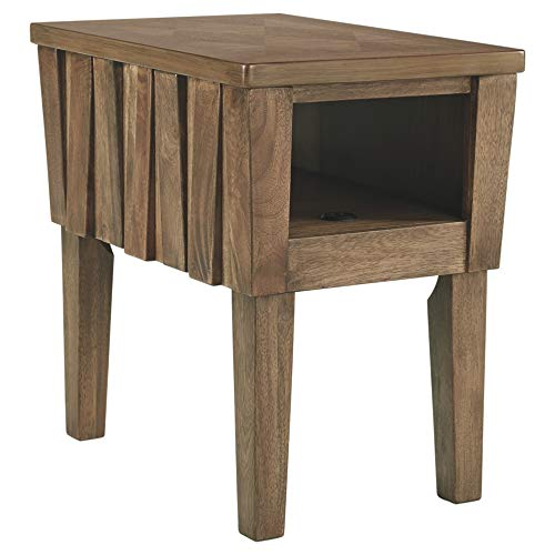 Signature Design by Ashley T783-7 Ashley Furniture Signature Design-Rowenbeck Chairside USB Port and Hinged Top Chair Side End Table, Brown ()