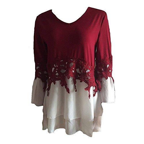 V lgant Manches Splice Pullover Sweatshirts Longues Plage Dentelle Chemises Hem Dentelle Huateng Femmes Casual Rouge Neck wpIqRn7zHR