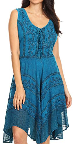 (Sakkas 123 Sundara Stonewashed Rayon Mid Length Dress - Turquoise Blue - S/M)