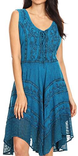 Sakkas 123 Sundara Stonewashed Rayon Mid Length Dress - Turquoise Blue - 1X/2X