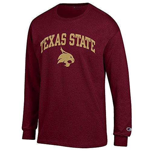 (Elite Fan Texas State Bobcats Men's Long Sleeve Arch Tee, Maroon, Large)
