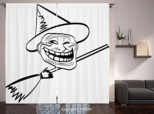 Thermal Insulated Blackout Window Curtain [ Humor Decor,Halloween Spirit Themed Witch Guy Meme Lol Joy Spooky Avatar Artful Image,Black White ] for Living Room Bedroom Dorm Room Classroom Kitchen Cafe