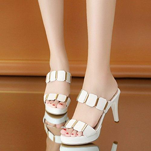 OME&QIUMEI De Tacón Alto Y Frío Zapatillas Mujer Sandalias Y Zapatos En Verano Blanco